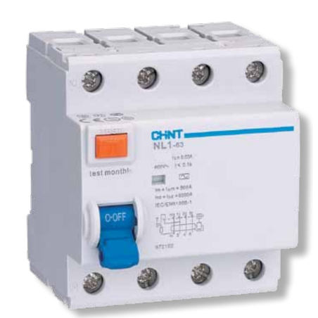 Earth fault switch 4P, 40A, 30mA Type A