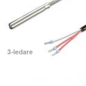 PT100 high temp sensor 6 mm 400°C 3-wire, 3 meter