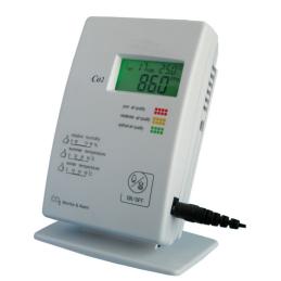 CO2, temperatur och fuktmonitor med alarm